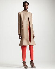 -4E7W Stella McCartney Flounce-Hem One-Button Coat, Piped Silk Crepe de Chine Blouse & Tapered Pants