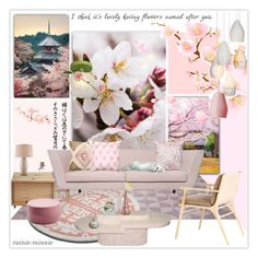 """Sakura"" by rainie-minnie ❤ liked on Polyvore featuring interior, interiors, interior design, home, home decor, interior decorating, Reyes, Souda, MASH Studios and Currey & Company"
