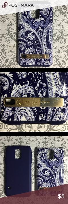 Trina Turk Samsung Galaxy S5 Cover Paisley Print Trina Turk's Samsung Galaxy 5S Dual Layer Case.  Deep blueish purple color with signature paisley print.  Product Dimensions: 8 x 5.2 x 1.6 inches. Item Weight: 4 ounces.  Slight scratches on gold name plate but otherwise in good used condition Trina Turk Accessories Phone Cases