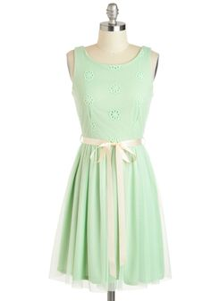 Filled with Merri-mint Dress - Pastel, Mid-length, Mint, Tan / Cream, Solid, Eyelet, Belted, Daytime Party, A-line, Sleeveless, Boat