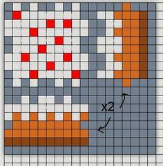 3D Minecraft cake perler bead chart