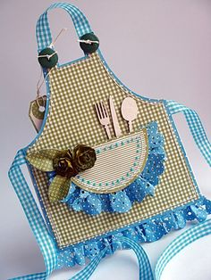 sweet apron card with ruffled pocket and silverware...