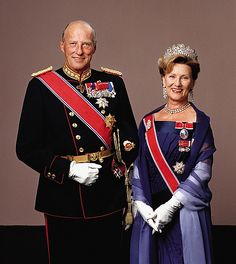 King Harald V and Queen Sonja of Norway. She is wearing Queen Josephine's diamond tiara.