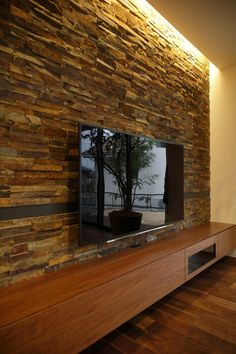 Stone Wall Living Room, Living Room Tv Unit Designs, Stone Wall Design, Tv Wall Design, Living Room Interior, Home Interior Design, Modern Tv Wall Units, Tv Wall Decor, Home Building Design