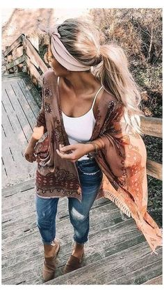Boho Outfits, Street Style Outfits, Neue Outfits, Fall Outfits, Casual Outfits, Fashion Outfits, Casual Dresses, Boho Chic Outfits Summer, Hippie Chic Outfits
