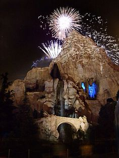 Matterhorn during the fireworks show at Disneyland