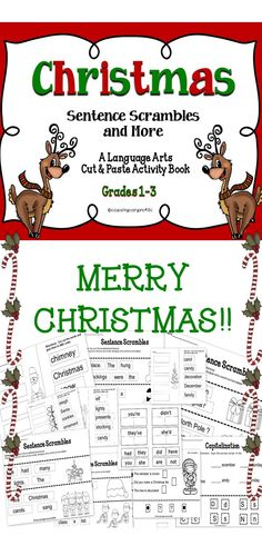 """Christmas Classroom Ideas - Celebrate the holidays with these fun and engaging """"no-prep"""" Christmas activities. Teaching Language Arts, Language Activities, Book Activities, Christmas Activities, Christmas Games, Christmas Ideas, Christmas Language Arts, 4th Grade Writing, Sentences"""