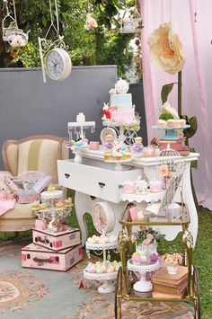 Pedestals, lace, sweets, and more from Vintage Alice in Wonderland Birthday Party at Kara's Party Ideas.