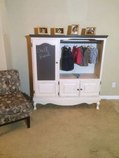 Entertainment Center Turned Into A Juvenile Size Wardrobe/ Armoire. Custom  Chalk Painted With Furniture