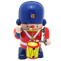 #vintagetoys #deals #toys Little Drummer TIn Toy Soldier Metal Winds up Toy 3.3 Tall