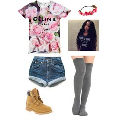 A fashion look from September 2014 featuring Levi's shorts, Timberland ankle booties and Accessorize hair accessories. Browse and shop related looks.