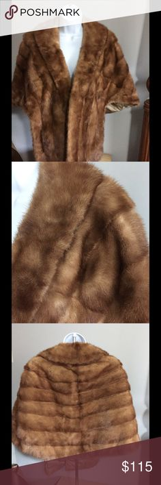 Elegant Vintage Mink Stole Stole has pockets. French Room Belks honey blonde Belk's Jackets & Coats Capes