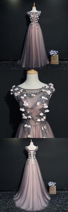 Tulle Prom Dresses, Sleeveless Prom Dresses, Applique Prom Dresses, A-Line Prom Dress#luckybridal