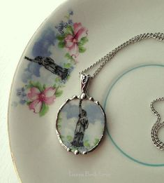 Broken china jewelry oval pendant necklace antique Statue of Liberty rare china.
