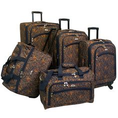 With an elephant print and 600 denier polyester construction, this five-piece spinner luggage set from American Flyer is durable and easy to identify on the turnstile. A four-wheel spinner system and telescoping handles make this set easy-to-transport.