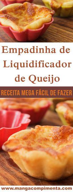Empadinha de Liquidificador de Queijo - Petisco para Copa ou para servir no Lanche da Tarde para a família! #receita #comida #empadinha #queijo