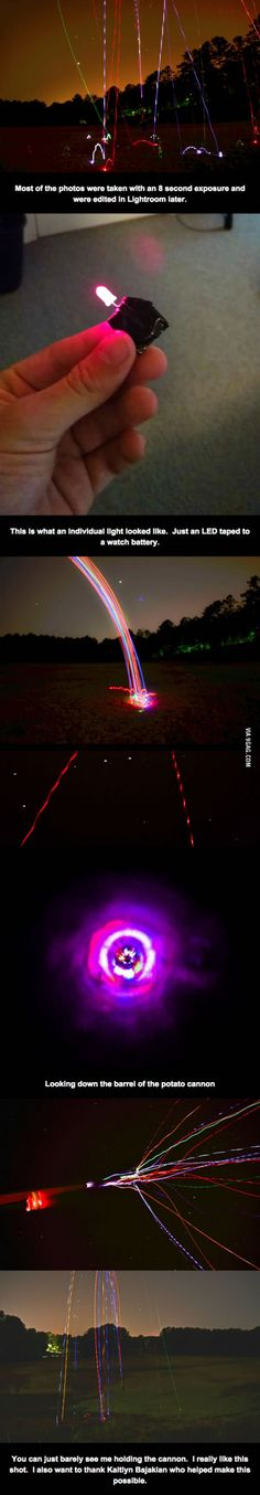 I fired LEDs out of a potato cannon. The results were pretty cool.