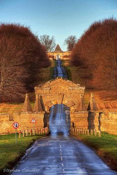 Road leading to Castle Howard - North Yorkshire, England. My mum was a house guide at Castle Howard when I was in my early teens. North Yorkshire, Yorkshire England, Yorkshire Dales, Places To Travel, Places To See, Castle Howard, England And Scotland, England Uk, Leeds England