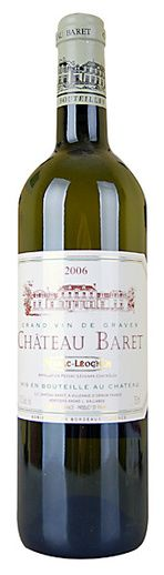 In stock - 23,45 € 2006 Château Baret, white dry , France - 88pt White wine of nice golden colour with lighter rim. In its bold fresh aroma we can sense fresh citrus hint which is in harmony with gentle vanilla. Taste is rich and nicely built with quied acid. After taste of this wine is medium intense and fresh.