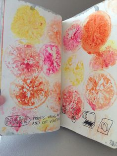 Wreck this journal ideas.... Lemon prints