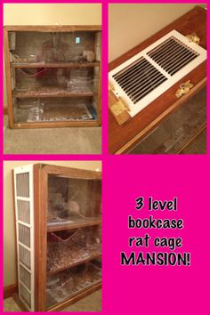 Bookcase turned into huge 3 level rat cage mansion!  This cage is lined with linoleum, has a plexi glass front that slides up & out for easy cleaning, huge vents down the sides, locking hinged vent on top, and a cup hook wash cloth hammock!