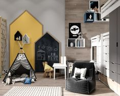 15 Cool Kids Room Decor Ideas to Create the Mood - mybabydoo Talking about the cool kids, what are the themes cross your mind? Check out these 15 cool kids room decor ideas to replace the boring concept. Trendy Bedroom, Kids Bedroom, Bedroom Decor, Bedroom Loft, Decor Room, Bedroom Themes, Bedroom Furniture, Nursery Decor, Chalkboard Wall Playroom