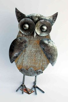 Wood and metal owl ornament - The English Owl Company