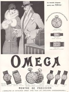 1929 Art Deco Ad Print Omega Wrist Pocket Watches for Men Ladies by Rene Vincent - http://collectibles.goshoppins.com/advertising/1929-art-deco-ad-print-omega-wrist-pocket-watches-for-men-ladies-by-rene-vincent/