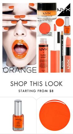 """""""NYX Orange"""" by deborah-calton ❤ liked on Polyvore featuring beauty and RGB Cosmetics"""