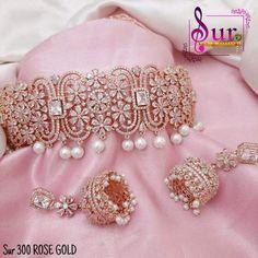 Rose Gold Bridal Jewelry, Indian Bridal Jewelry Sets, Bridal Jewelry Vintage, Bridal Bangles, Antique Jewelry, Fancy Jewellery, Gold Jewellery Design, Bead Jewellery, Bridal Jewellery Inspiration