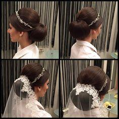 Formal hairstyle with mantilla veil and tiara headband #bridal #hairstyles