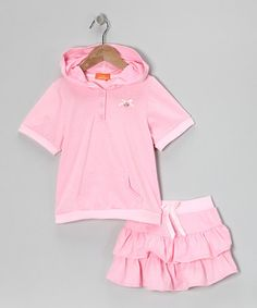 Take a look at this Pink Pin Dot Bow Hoodie & Ruffle Skirt - Girls by Dolce Liya on #zulily today!