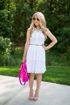 White Eyelet Dress for Summer (on sale!!) - Mix & Match Fashion