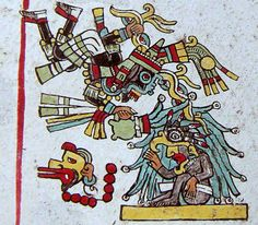 Dzahui, the Mixtec lightning deity (parallel to the Aztec Tlaloc). detail of Codex Zouche-Nuttall page 5.