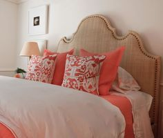 white-coral-red-bedroom-ikat-pillow-curvy-burlap-headboard Love the color of the headboard and design. Coral Bedding, Coral Bedroom, Dream Bedroom, Bedroom Decor, Neutral Bedding, Tangerine Bedroom, Bedroom Ideas, Coral Pillows, Guest Rooms