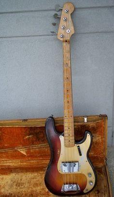 RARE Old 1959 Fender Precision Bass Guitar in Original Tweed Case   eBay