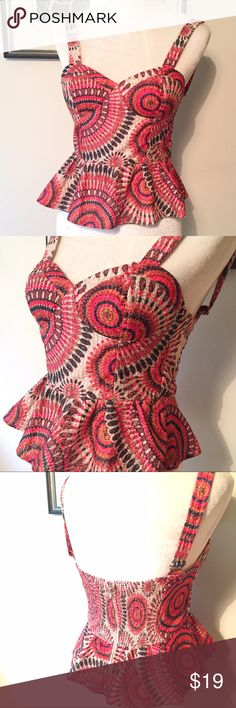 """TCEC colorful Embroidered bustier padded support I'm not sure how to describe this fabric except that it has delicate embroidery like I haven't seen before. Padded cups and stretch elastic panel and back for a perfect fit. Zip closure. Adjustable straps. Size small and I would say best for an A-B cup. The cups themselves measure 8"""" along the curved bottom x 5"""" high. Armpit to armpit is 14-17"""" with stretch. TCEC Tops"""