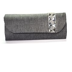 Gray Elegant Rich Silver Stone Motif Women Hand Made Evening Clutch Xmas Gift !! #Handmade #Clutch