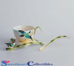 Franz Porcelain Bamboo Song Bird Cup, Saucer, Spoon