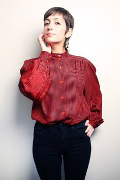 Vintage red and black striped blouse. Love the collar.