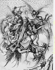 Temptation of St. Anthony Martin Schongauer Early Renaissance Engraving Metropolitan of Art, New York Religious images Dance Of Death, Martin Schongauer, Renaissance, Temptation Of St Anthony, Hans Holbein, Arte Obscura, Danse Macabre, Angels And Demons, Evil Demons