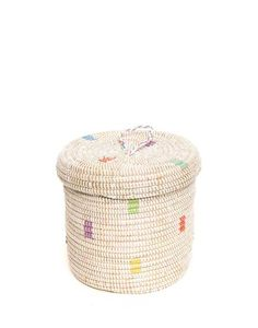 Handwoven Grass & Recycled Plastic Small Basket, Fair Trade   Rainbow – The Little Market