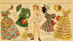 """""""Penelope loves Halloween Parties,"""" a paper doll by Lucy Eleanor Leary, Boston Sunday Post, 1940-1950s."""