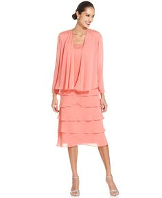 SL Fashions Sleeveless Embroidered Tiered Dress and Jacket - Dresses - Women - Macy's