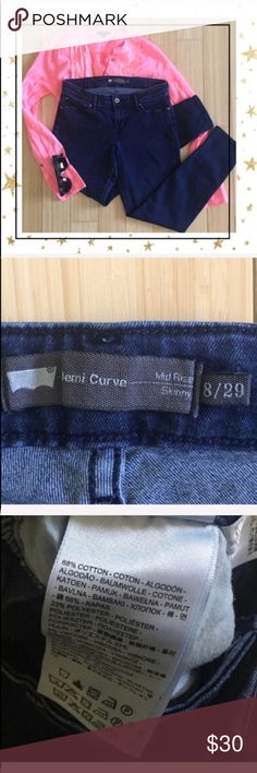 Levis Mid Rise Skinny jeans Levis mid rise skinny jeans. Sark blue wash. Cotton blend. See pictures for measurements. Comfortable  and flattering fit , stretch denim. Good condition. Offers welcome. No trade  (HP23N8LV) Levi's Jeans Skinny