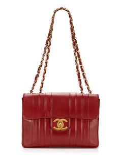 Chanel Vintage Red Leather Vertical Jumbo 2.55 Flap Bag