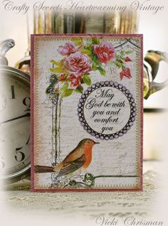 "This art that makes me happy: Sympathy cards created using Crafty Secrets ""Creating with Vintage Illustrations CD"""