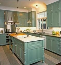 Kitchens on pinterest kitchen cabinets modern kitchen for Duck egg blue kitchen island
