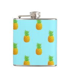 Pineapple Pattern on Blue Alcohol Flask