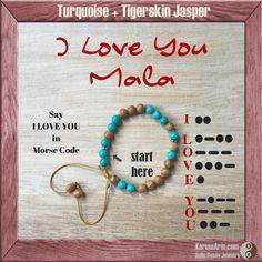 Morse Code Bracelet: I LOVE YOU - Turquoise + Tigerskin Jasper